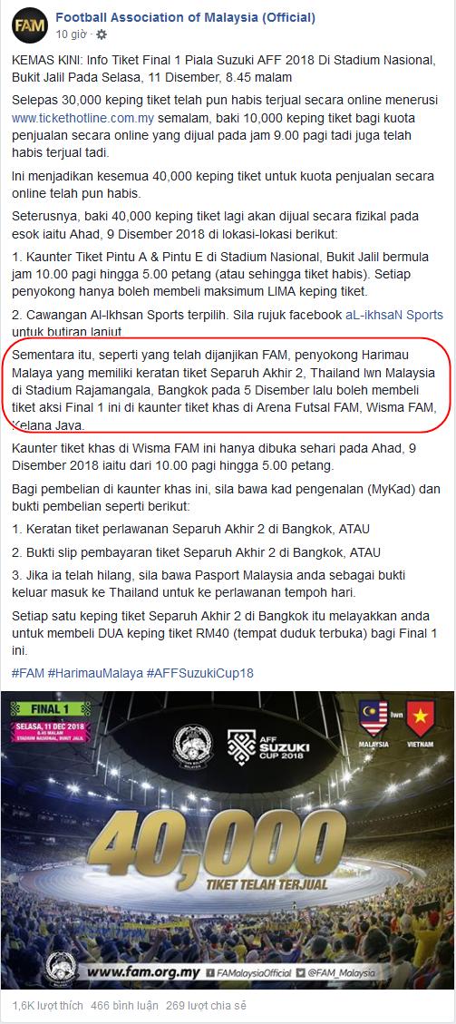 Fan Việt ghen tỵ với cách thưởng vé chung kết cho CĐV của Malaysia - Bóng Đá