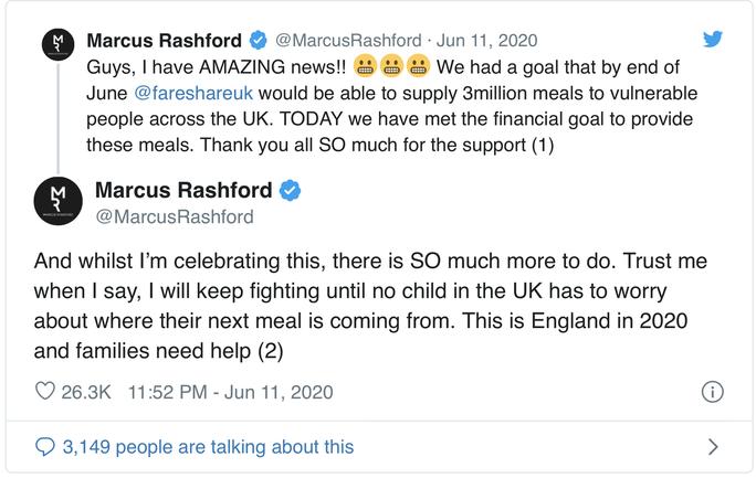 Marcus Rashford: 20 triệu bảng cho những bữa ăn miễn phí mùa cách ly - Bóng Đá