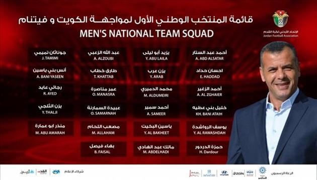 Jordan công bố 23 cầu thủ chuẩn bị cho trận đấu gặp ĐT Việt Nam - Bóng Đá