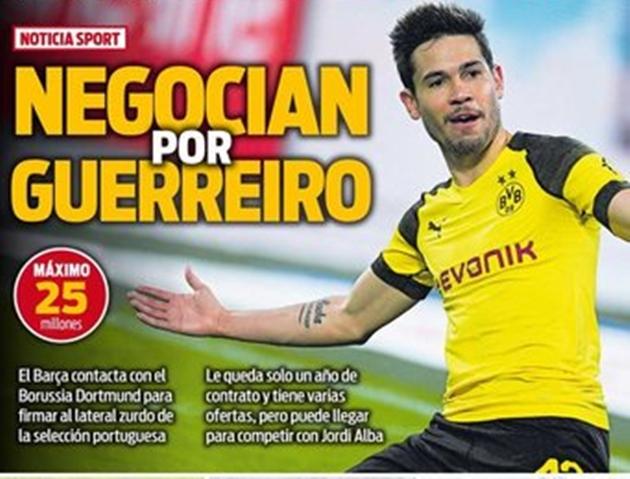Barcelona đề nghị 25 triệu cho Guerreiro - Bóng Đá