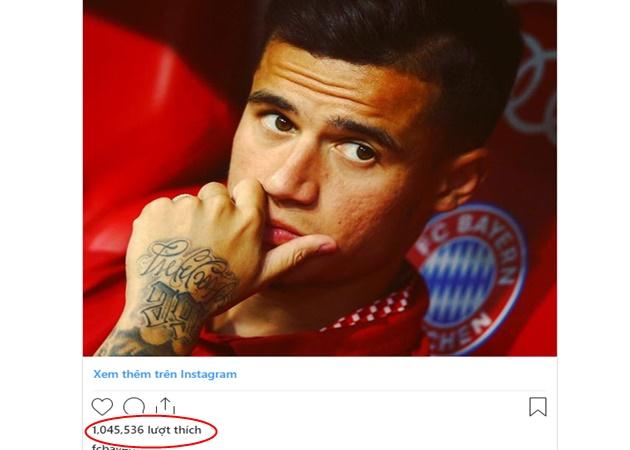 Thông báo chiêu mộ Coutinho nhận 1 tr like trên Insta - Bóng Đá