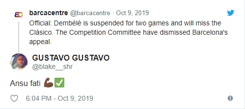 Barcelona: Fans react to Ousmane Dembele suspension - Bóng Đá