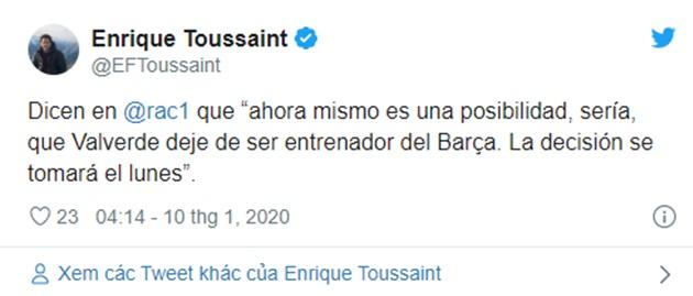 Barcelona to make decision on Ernesto Valverde's position as manager on Monday - Bóng Đá