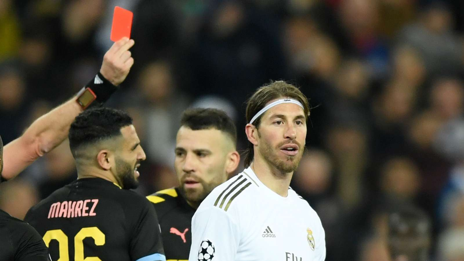 Video: Watch as cynical Sergio Ramos takes his 26th career red card for Real Madrid vs Man City - Bóng Đá