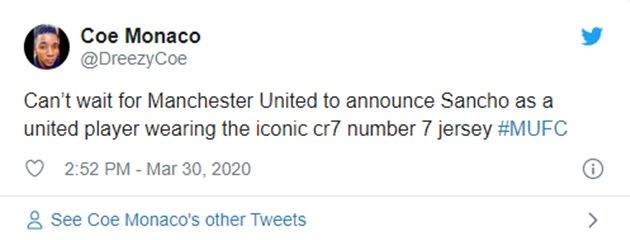 Manchester United fans react after Jadon Sancho 'unofficially confirms transfer to Man Utd' - Bóng Đá