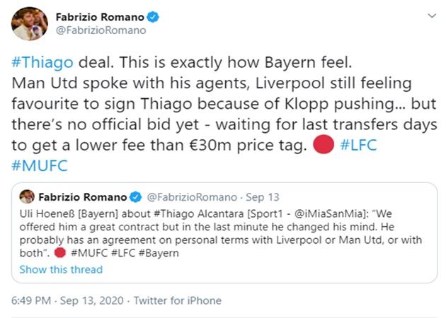 Fabrizio Romano xác nhận việc MU quan tâm Thiago - Bóng Đá