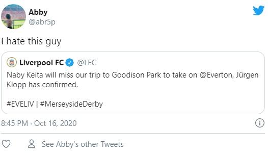 Liverpool: Fans react as Naby Keita will miss Everton clash - Bóng Đá