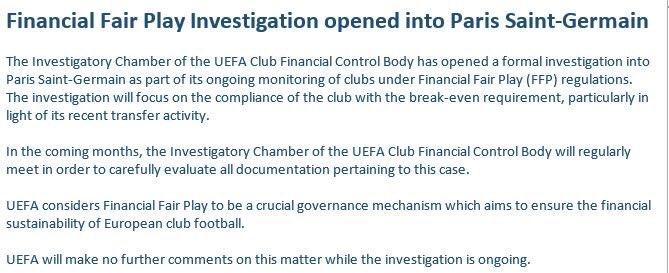 CHÍNH THỨC: UEFA mở cuộc điều tra Man City, PSG - Bóng Đá