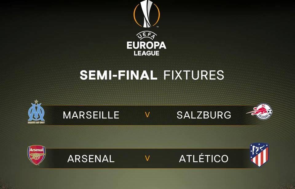 Bốc thăm bán kết Europa League: Arsenal đụng Atletico Madrid - Bóng Đá