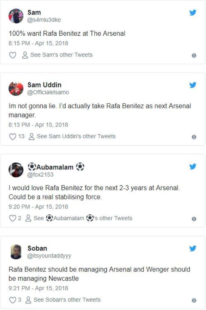 Fan Arsenal kêu gọi Rafa Benitez thay thế HLV Wenger - Bóng Đá