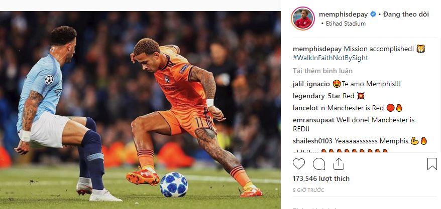 Đánh bại Man City, Depay gửi thông báo đặc biệt đến Man Utd - Bóng Đá