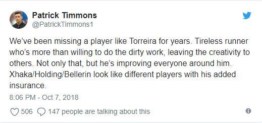Fan Pháo thủ khen Torreira hay hơn cả Kante - Bóng Đá