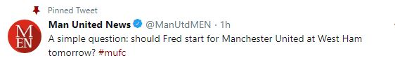 A simple question: should Fred start for Manchester United at West Ham tomorrow? #mufc - Bóng Đá