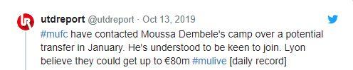 Man United fans laugh off Moussa Dembele's reported valuation - Bóng Đá