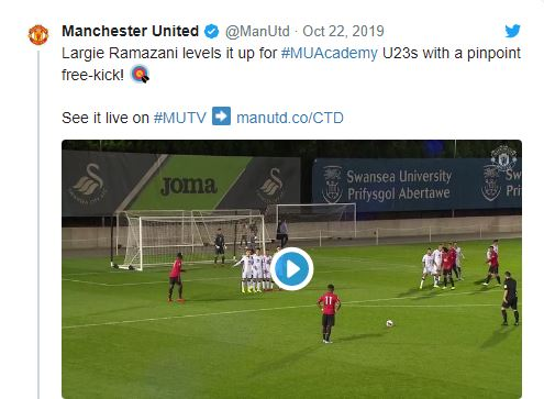Manchester United: Fans laud Largie Ramazani following free-kick against Swansea U23s - Bóng Đá