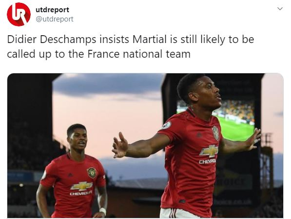 Fan React: Didier Deschamps insists Martial is still likely to be called up to the France national team - Bóng Đá