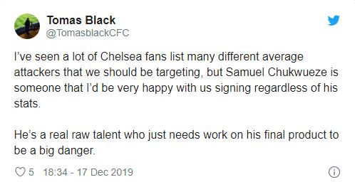 Chelsea fans excited by reported interest in Samuel Chukwueze - Bóng Đá