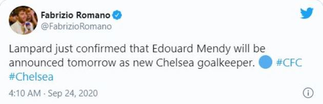 Frank Lampard reveals Chelsea will announce signing of Edouard Mendy in next 24 hours - Bóng Đá