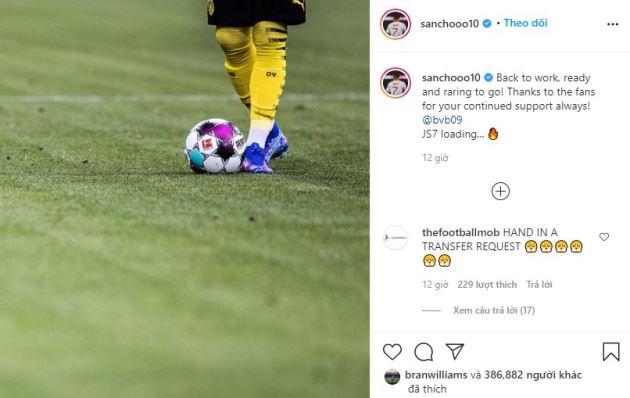 Man Utd fans positive Jadon Sancho transfer on next year after Instagram message - Bóng Đá