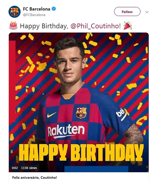 Liverpool fans troll birthday boy Philippe Coutinho with pictures of their Champions League success... after the Barcelona star LEFT Anfield to win the competition - Bóng Đá