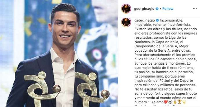 Cristiano Ronaldo's girlfriend, Georgina Rodriguez, posts message of support on Instagram - Bóng Đá
