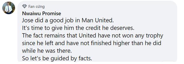 Phản ứng CĐV Jose Mourinho nói về M.U - Bóng Đá