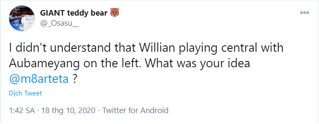 'PLEASE STOP Willian': SOME ARSENAL FANS ARE TWEETING MIKEL ARTETA FOR THE SAME REASON - Bóng Đá