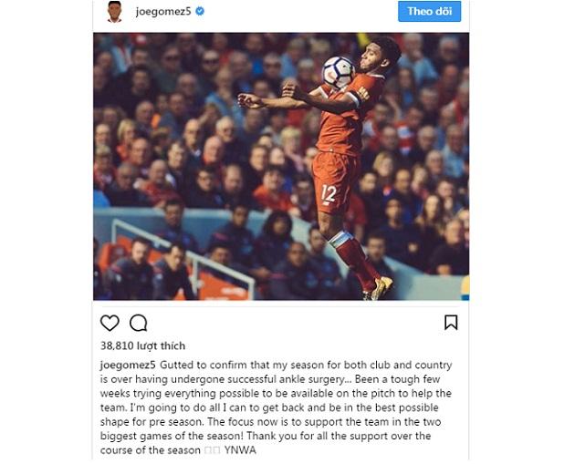 NÓNG: Joe Gomez chính thức lỡ hẹn với World Cup 2018 - Bóng Đá