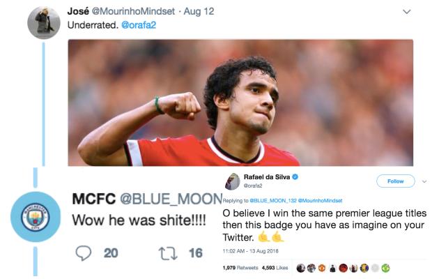 NHM Man Utd hả hê với lời đáp trả từ Rafael dành cho CĐV Man City - Bóng Đá