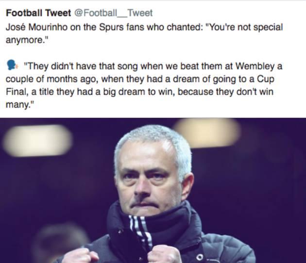 NHM MU 'phát cuồng' vì lời đáp trả của Mourinho dành cho fan Tottenham - Bóng Đá