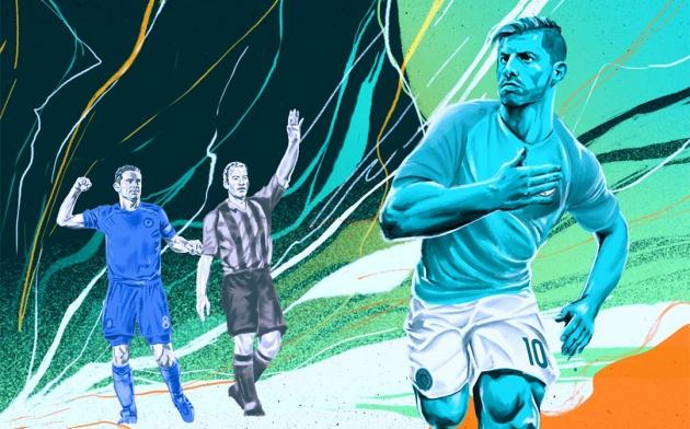 Aguero ghi bàn vượt mặt Lampard, nhưng vẫn kém người M.U - Bóng Đá
