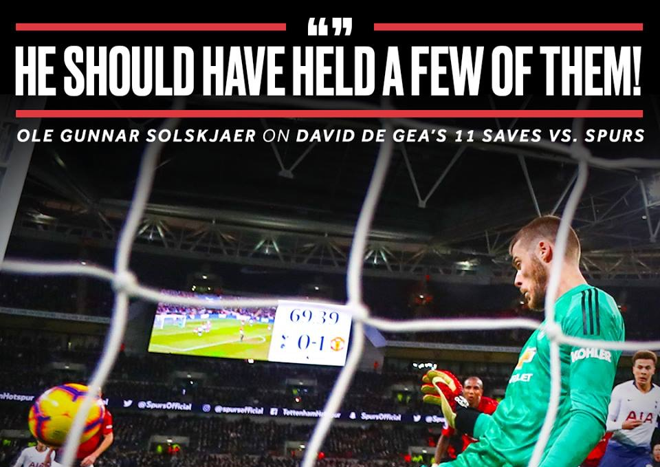 Solskjaer phát biểu cực sốc về màn trình diễn của De Gea trước Spurs - Bóng Đá