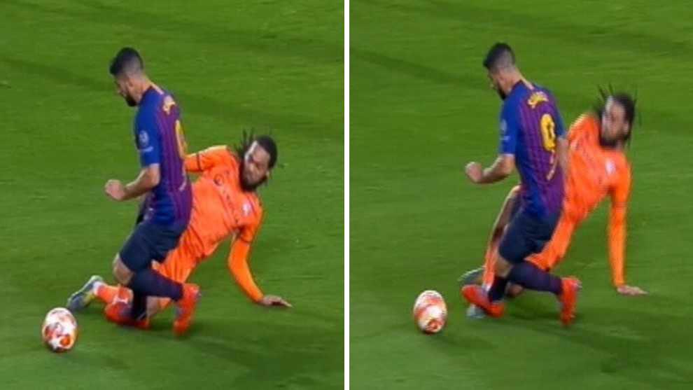Suarez đạp chân đối thủ và Barca được hưởng... phạt đền - Bóng Đá