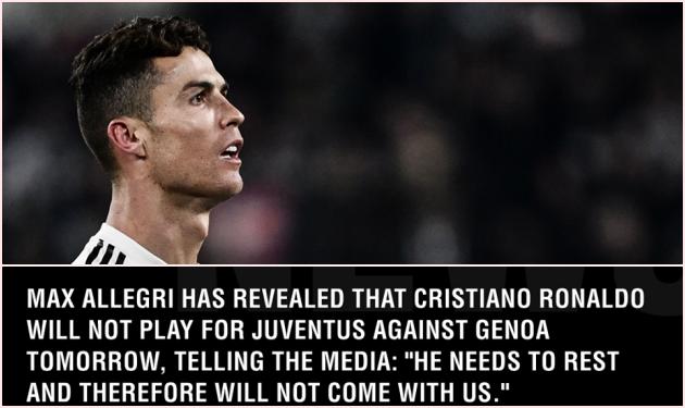 Tại sao Ronaldo vắng mặt ở trận thua sốc của Juventus trước Genoa? - Bóng Đá