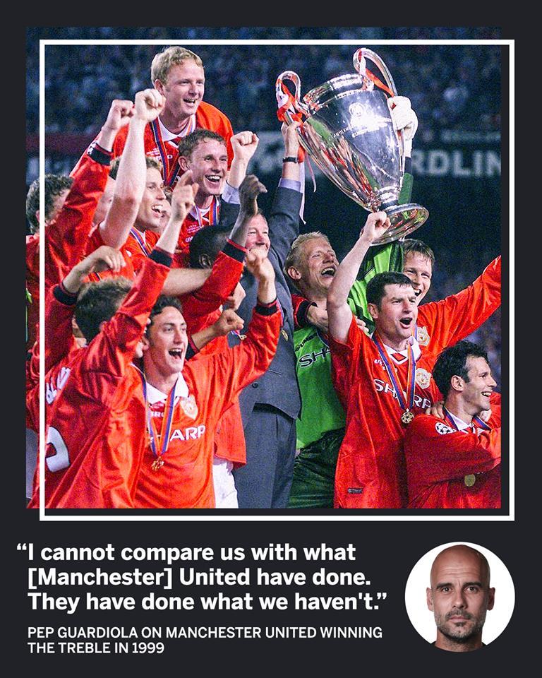 Guardiola đưa ra phát biểu đầy sự tôn trọng về Man Utd 1999 - Bóng Đá