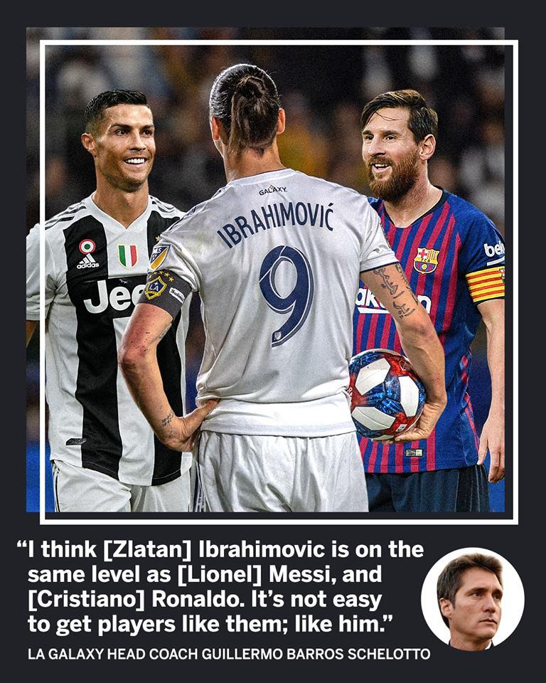 SỐC! Ibrahimovic được ca ngợi có cùng đẳng cấp với Ronaldo và Messi - Bóng Đá