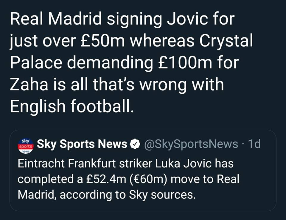 80 triệu bảng cho Zaha? Man Utd có nhìn vào Real Madrid - Luka Jovic? - Bóng Đá