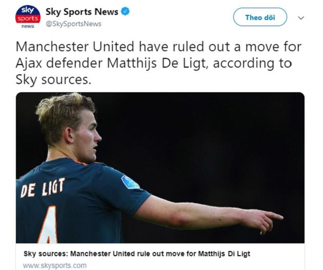 NÓNG! Sky Sports chính thức xác nhận vụ Man Utd - De Ligt - Bóng Đá