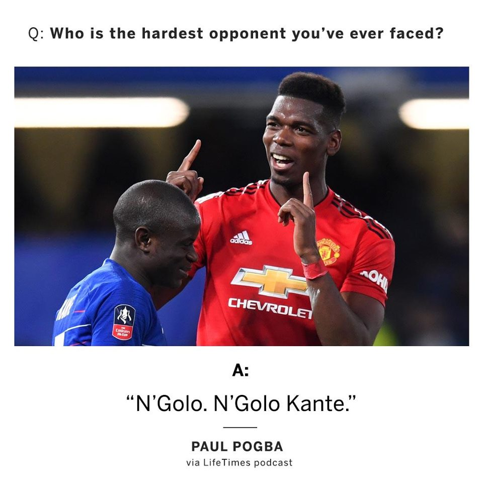 Paul Pogba believes N'Golo Kante is the toughest player he's ever faced - Bóng Đá