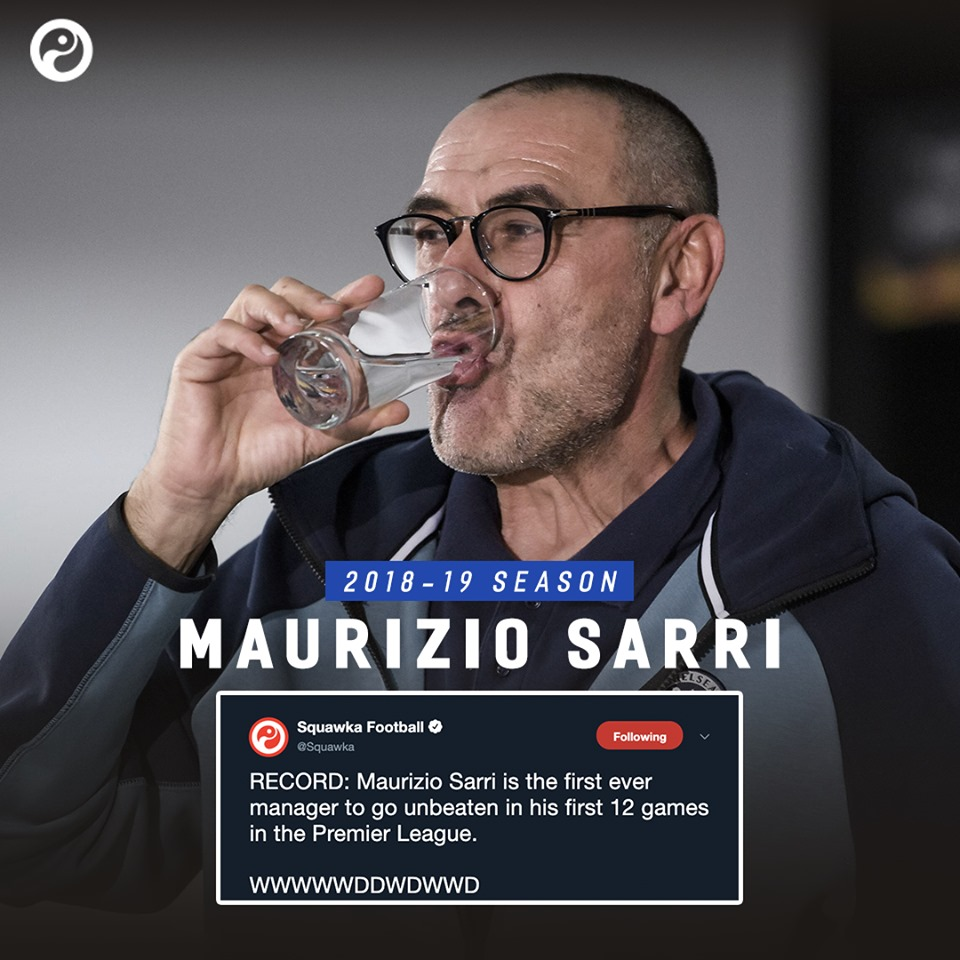 Sarri is the first manager to go unbeaten in his 12 games in the EPL - Bóng Đá