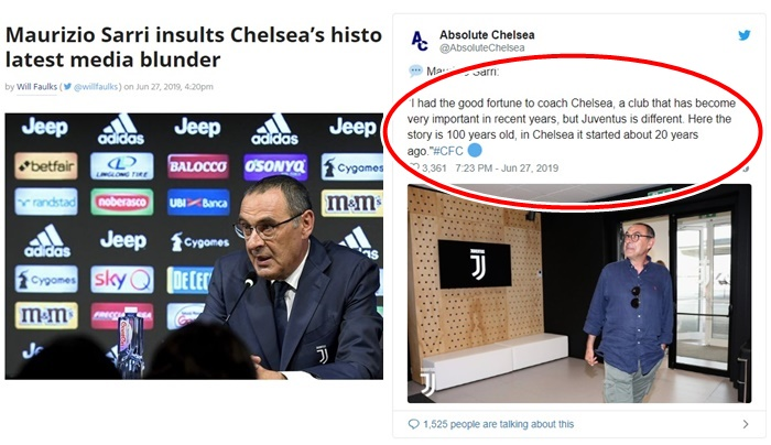 Sarri on history of Juventus and Chelsea - Bóng Đá