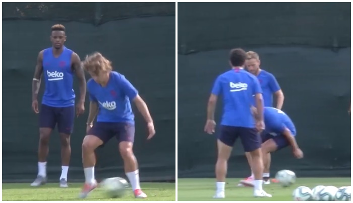 Antoine Griezmann gets nutmegged twice in his first FC Barcelona training session - Bóng Đá