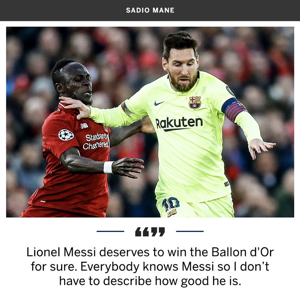 Sadio Mané gives Leo Messi his vote (Ballon d'Or) - Bóng Đá