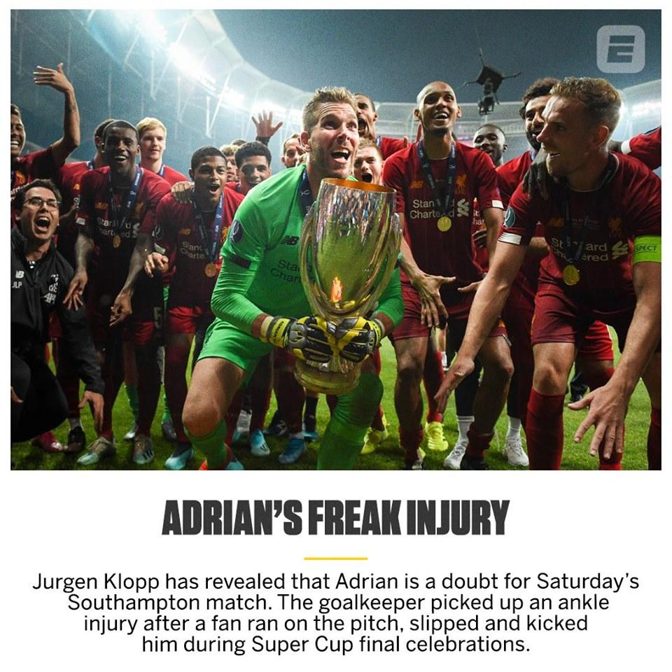 Adrian chấn thương, ai sẽ thay thế? - Bóng Đá