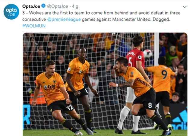 Wolves are the first to team to come from behind and avoid defeat in three consecutive @premierleague games against Manchester United - Bóng Đá