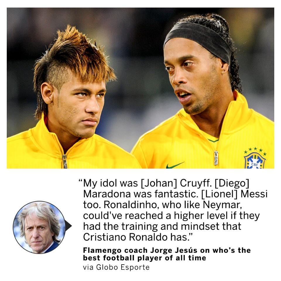 Huyền thoại Bồ Đào Nha thừa nhận Ronaldinho và Neymar kém CR7 - Bóng Đá