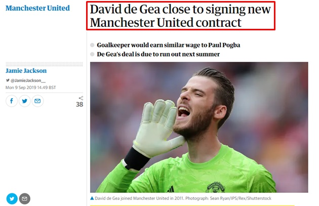David de Gea close to signing new Manchester United contract - Bóng Đá