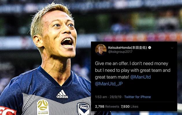 Keisuke Honda kêu gọi Man Utd đưa ra đề nghị chuyển nhượng - Bóng Đá