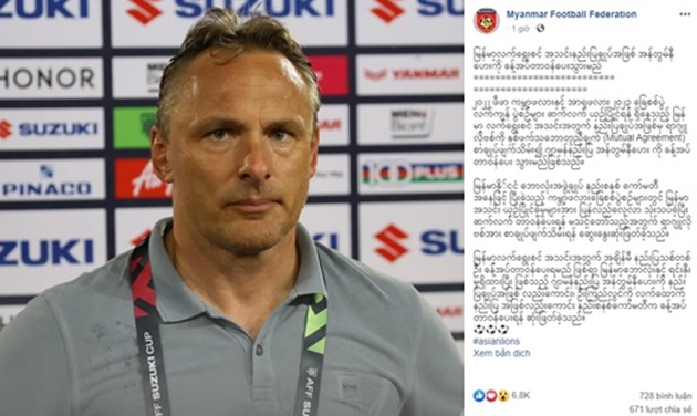 OFFICIAL: Myanmar Football Federation sacks Miodrag Radulović - Bóng Đá