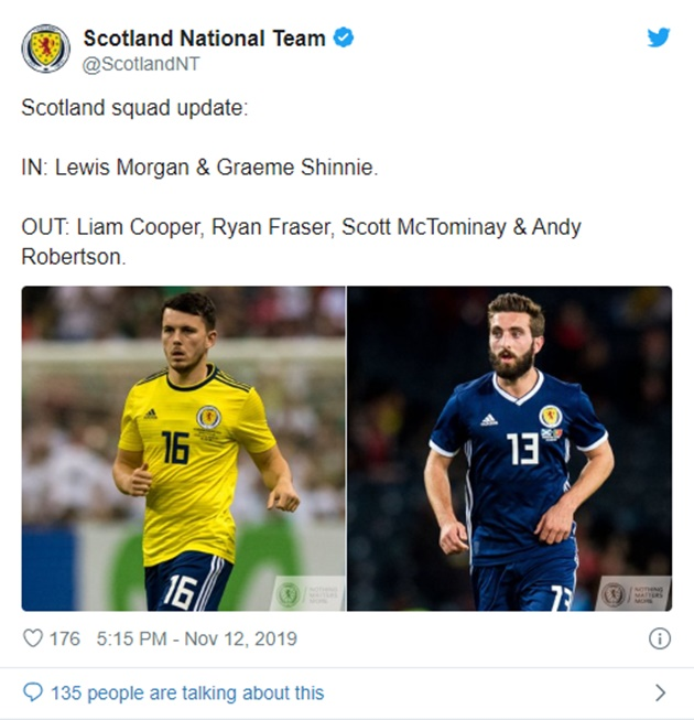 Scotland: OUT: Liam Cooper, Ryan Fraser, Scott McTominay & Andy Robertson. - Bóng Đá